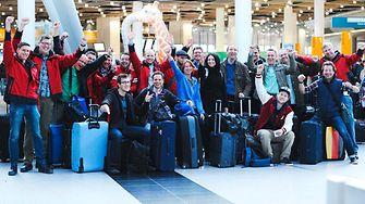 Das Henkel-Helferteam am Sonntag, den 11. Mai, vor dem Abflug am Flughafen in Düsseldorf.