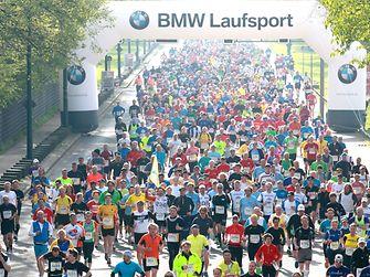 Die Marathon-Läufer auf ihrem 42 Kilometer langen Weg zum Ziel.