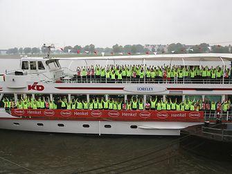 Die Henkel-Läufer trafen sich morgens schon um 8.15 Uhr auf dem Team-Schiff MS Loreley.