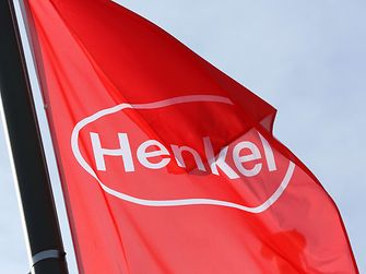 Henkel logo on  red flag