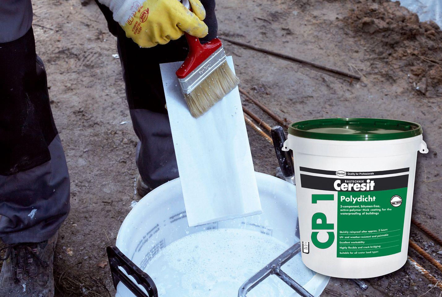 Die Dickbeschichtung CP 1 PolyDicht setzt auf Aktiv-Polymere, die sie ideal für die Anwendung im Sockelbereich machen.