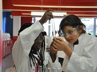 Konzentriert betrachten die Schüler die Flüssigkeiten
