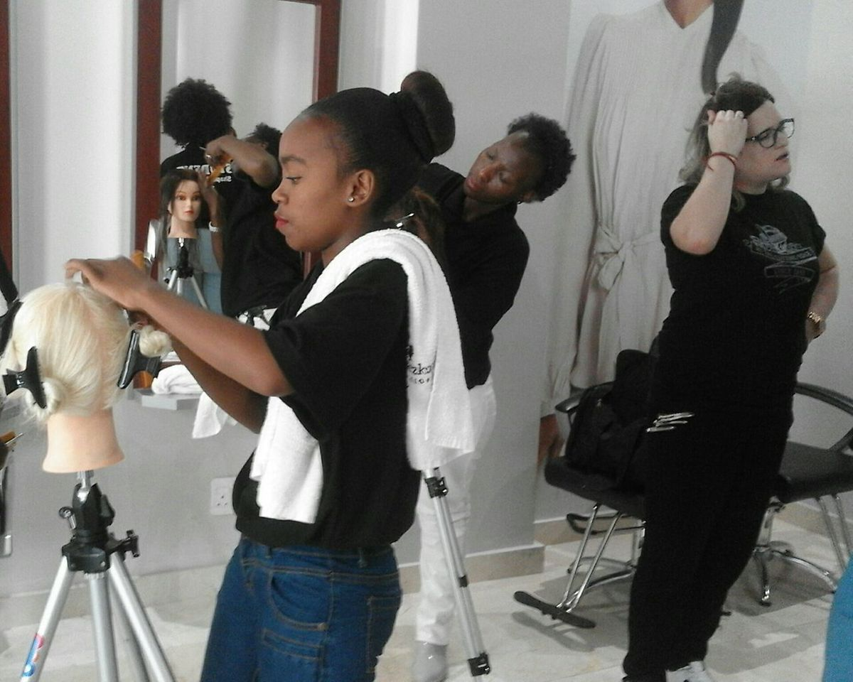 Zinhle at work at the VXV Studio in Johannesburg.